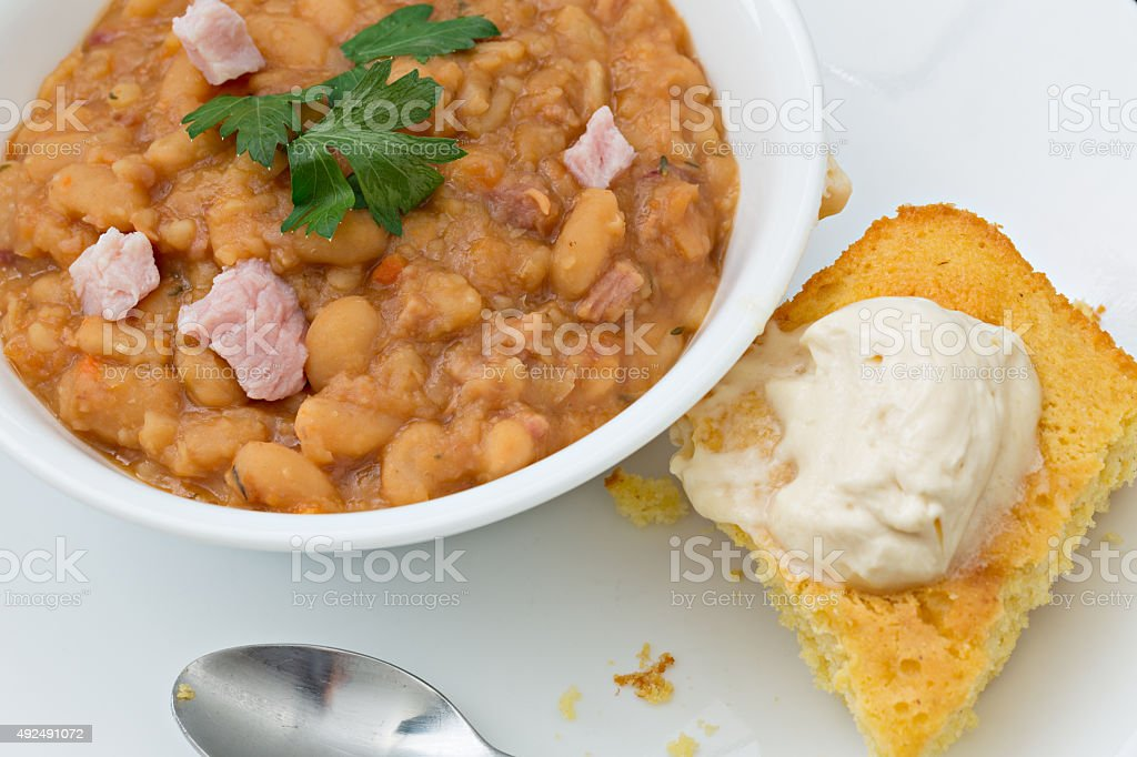 Navy Bean Soup And Cornbread stock photo