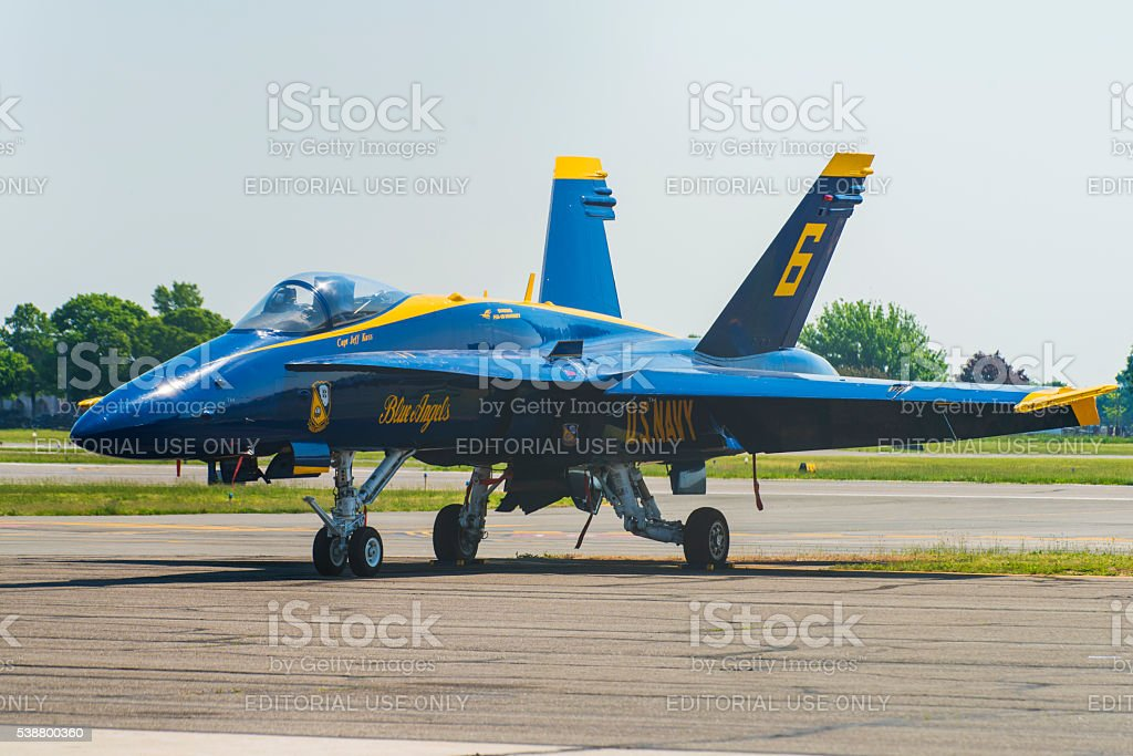 US Navy Blue Angels Capt. Jeff Kuss' Number 6 Plane stock photo