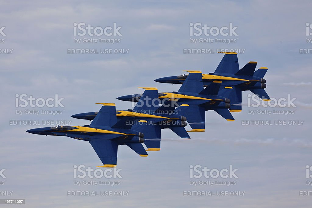 US Navy Blue Angels flying in formation stock photo