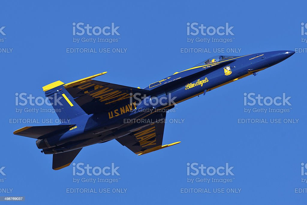 US Navy Blue Angels performing air show routine stock photo