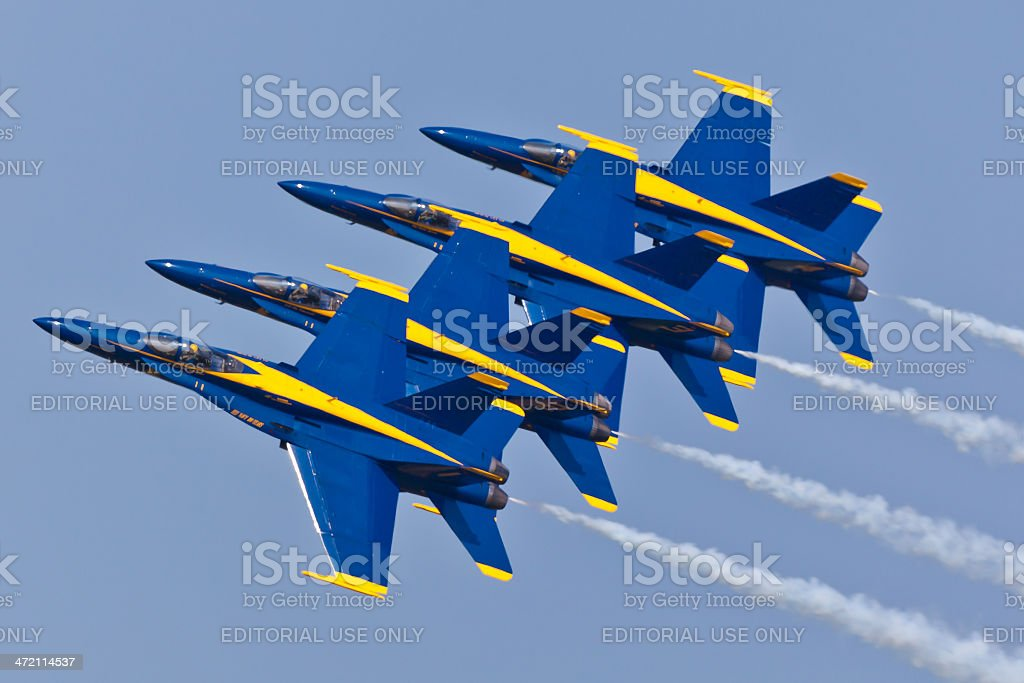 US Navy Blue Angels performing demo routine stock photo