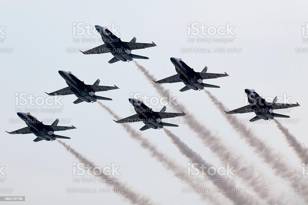 US Navy Blue Angels Preforming Precision Aerial Maneuvers stock photo