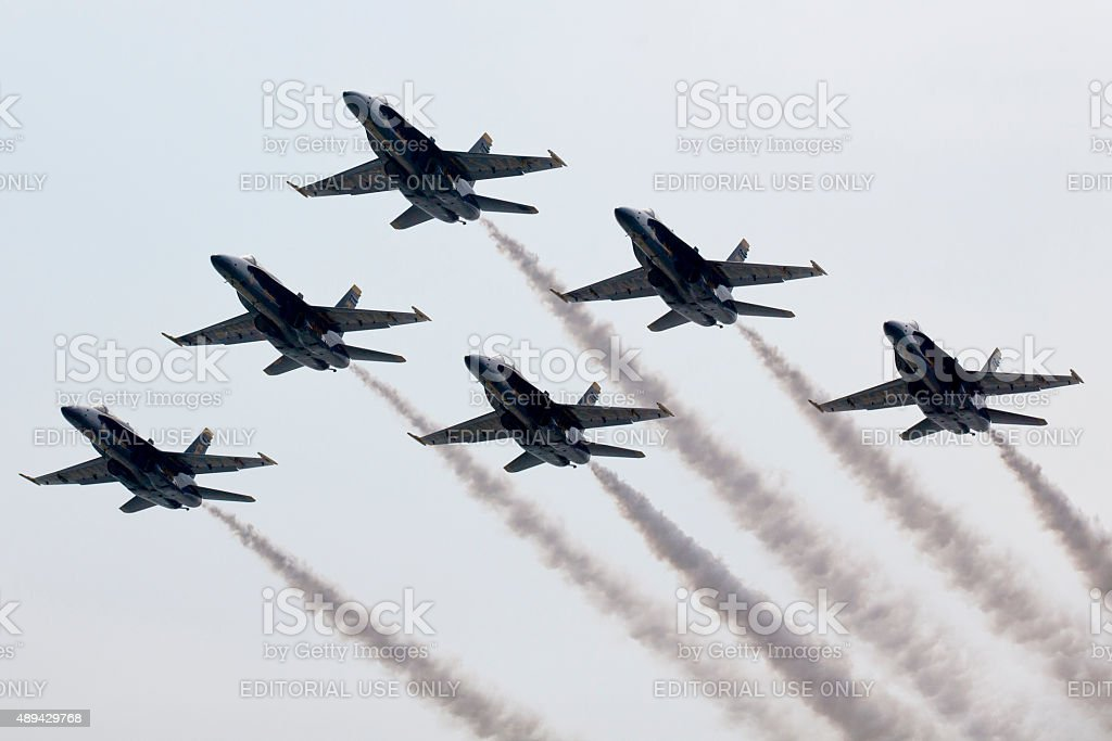 US Navy Blue Angels Preforming Precision Aerial Maneuvers stock photo