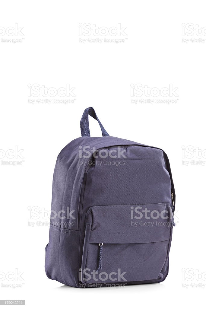 Navy blue closed backpack royalty-free stock photo