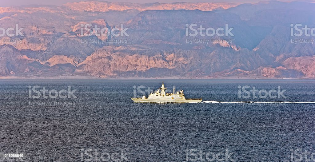 Navy boat patrolling in the Gulf of Aqaba stock photo