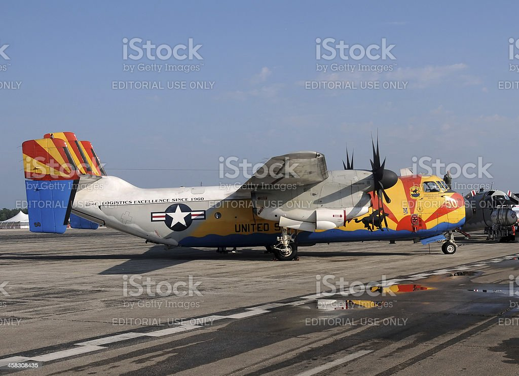 US Navy C-2A Greyhound cargo airplane stock photo