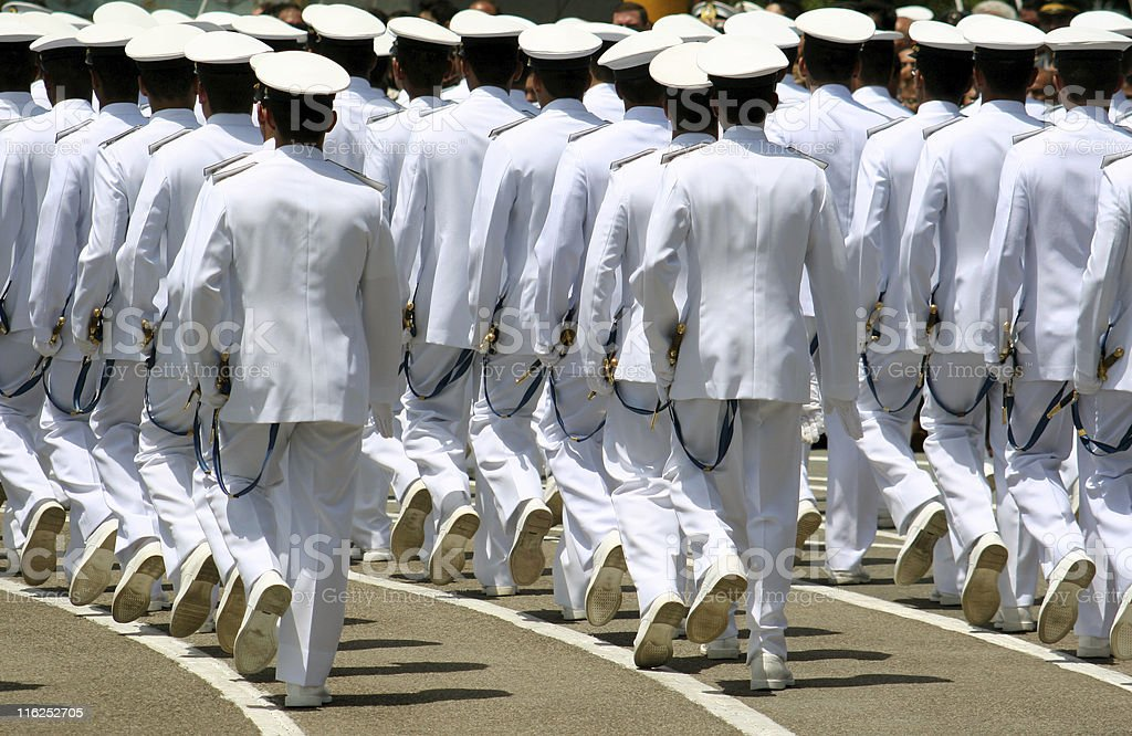 Navy cadets marching stock photo