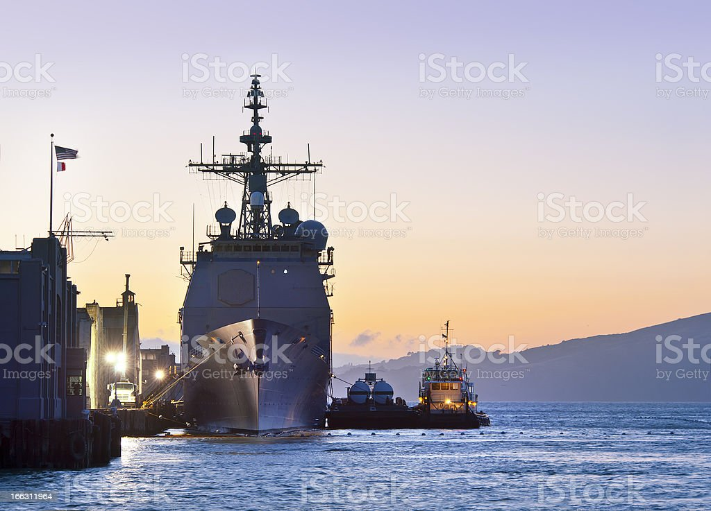 U.S. Navy Cruiser at Port in San Francisco stock photo