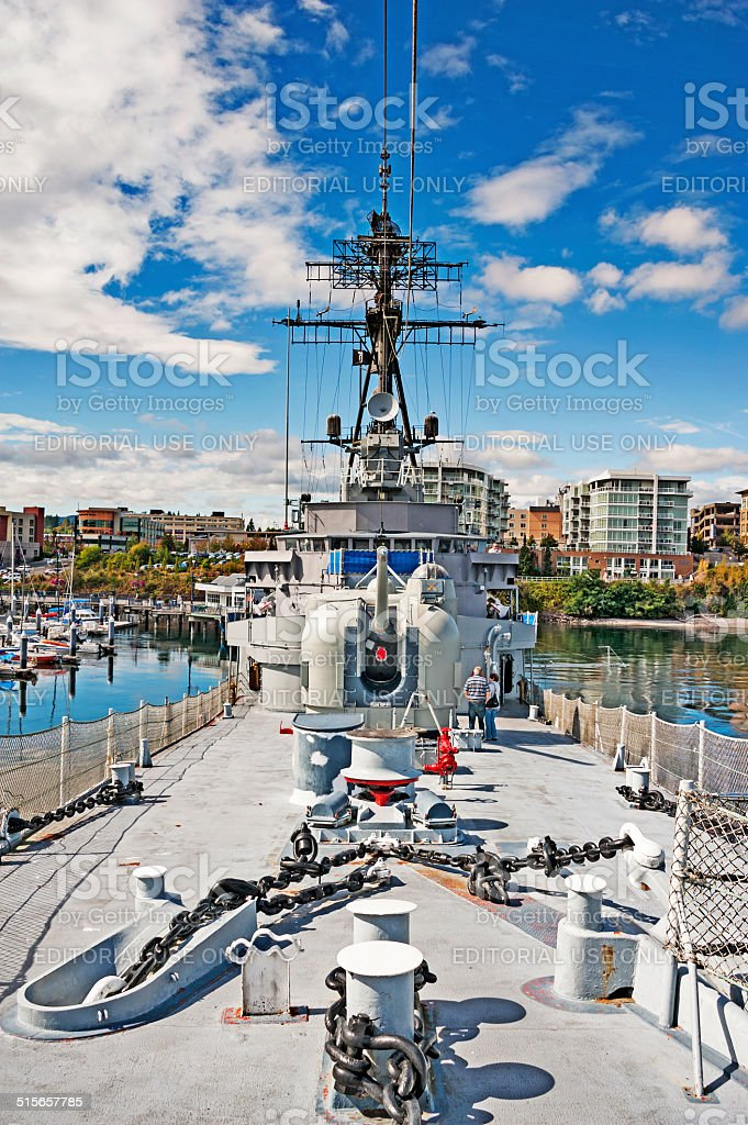 Navy Destroyer with Visitors local landmark Bremerton Island stock photo