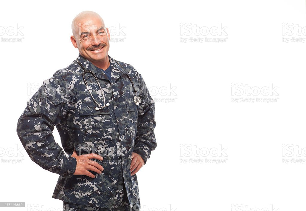 Navy doctor on white background with copy space. stock photo
