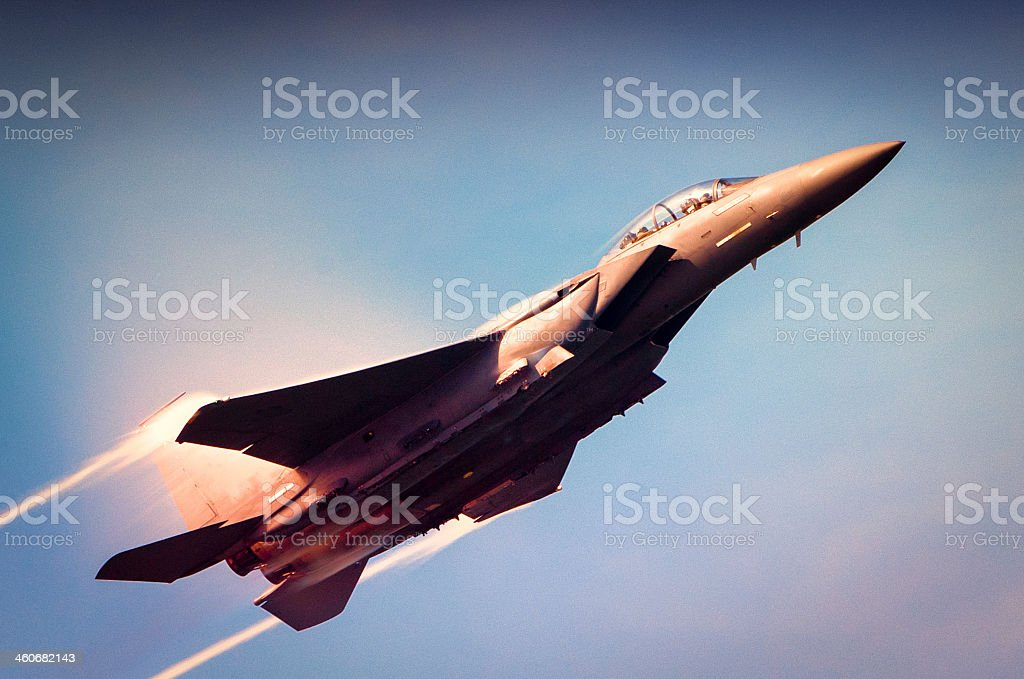 Navy F-18 Super Hornet flying upward stock photo