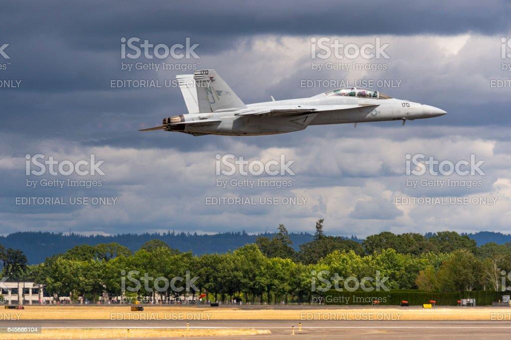 U.S. Navy F-18 Super Hornet Jet above Runway Hillsboro Oregon stock photo