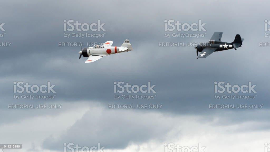 U.S. Navy F6F Hellcat A6M2 Japanese Zero Airshow 2016 Oregon stock photo