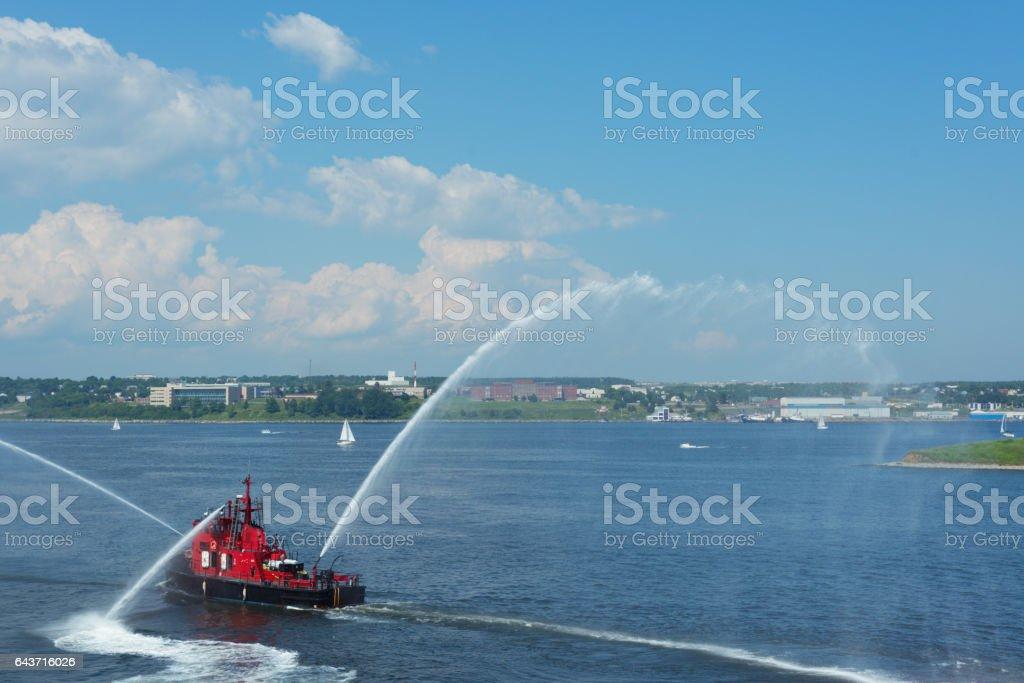 Navy Firefighting Ship stock photo