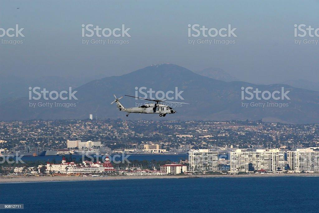 Navy Helicopter over Coronado royalty-free stock photo