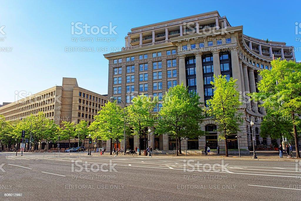 US Navy Memorial and FBI building in Washington DC stock photo