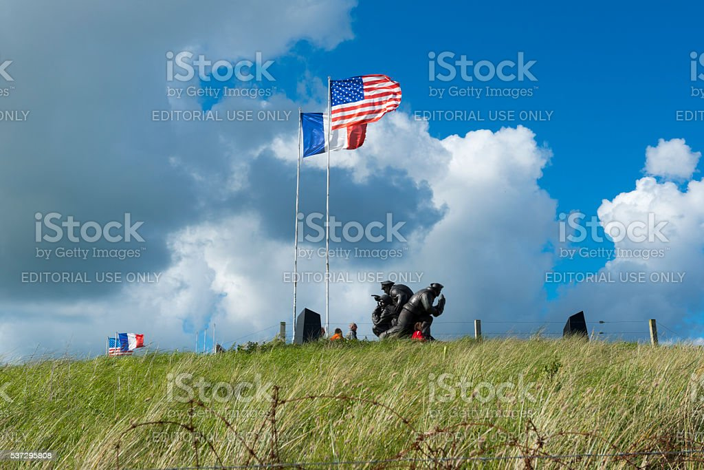 Navy memorial at Utah Beach in Normandy, France stock photo