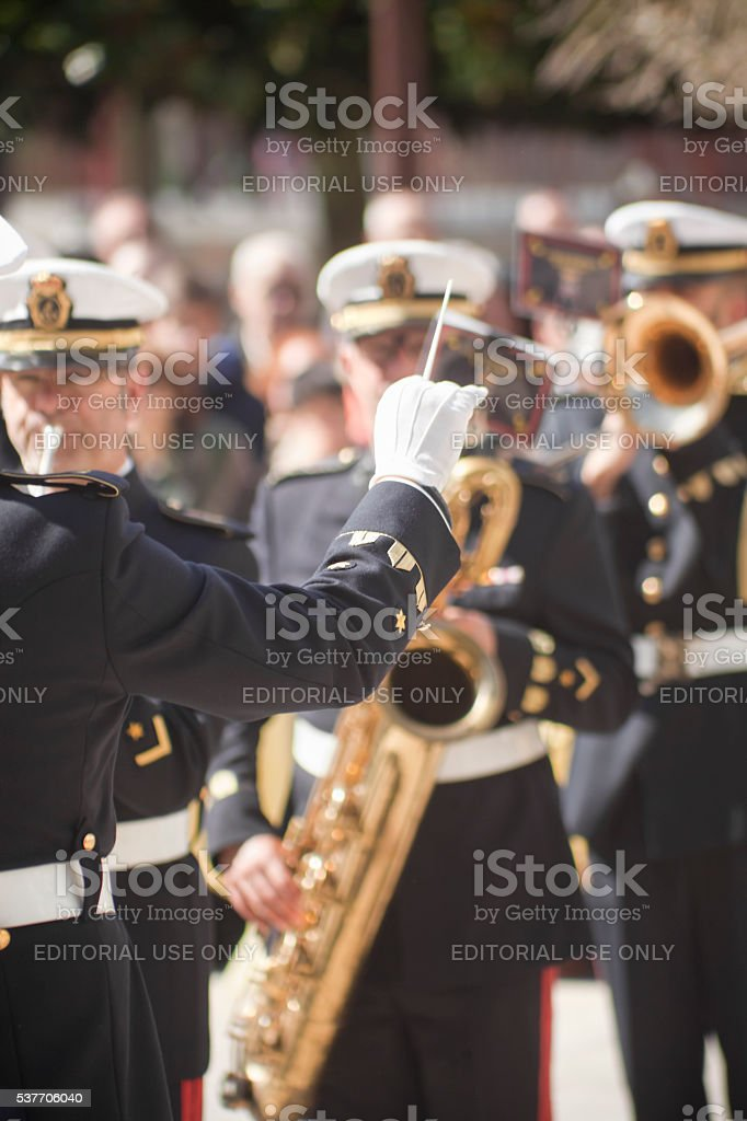 Navy military marching band, director with baton. stock photo
