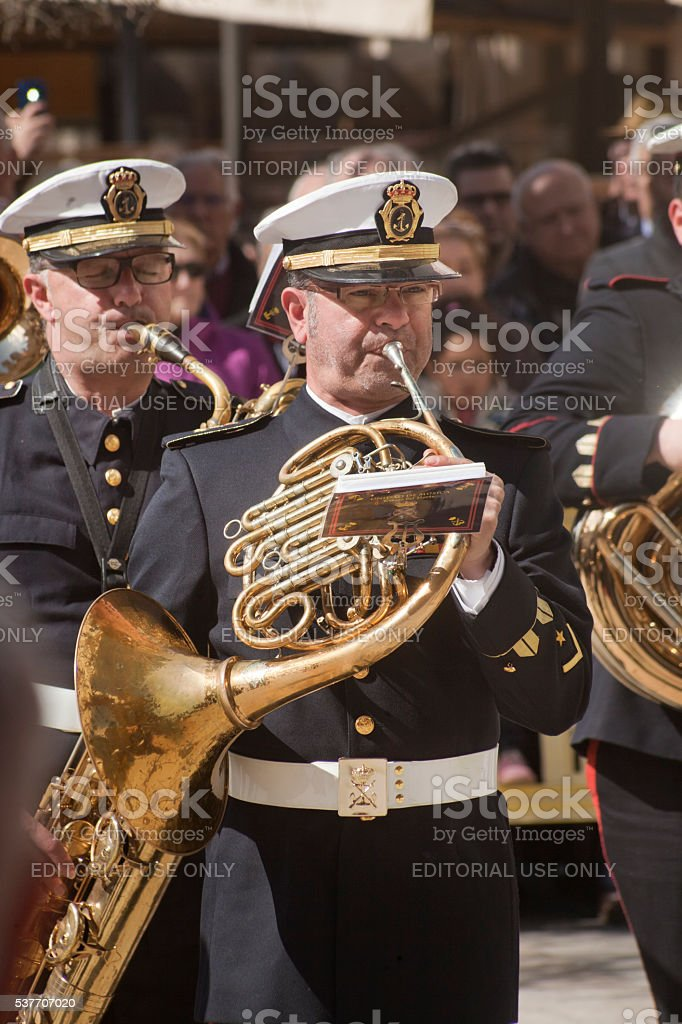 Navy military marching band, playing horn stock photo