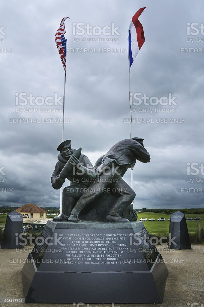 U.S. Navy Monument-Utah Beach stock photo