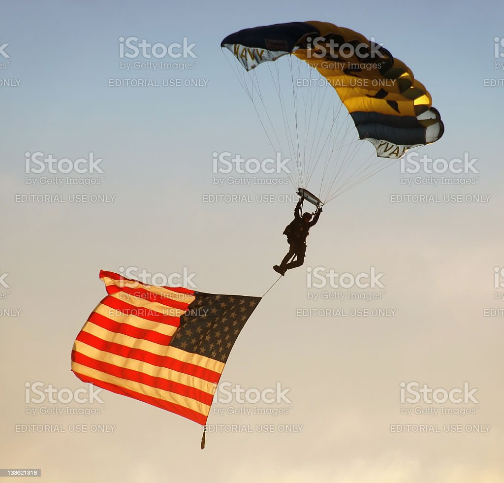 UN Navy paratrooper stock photo