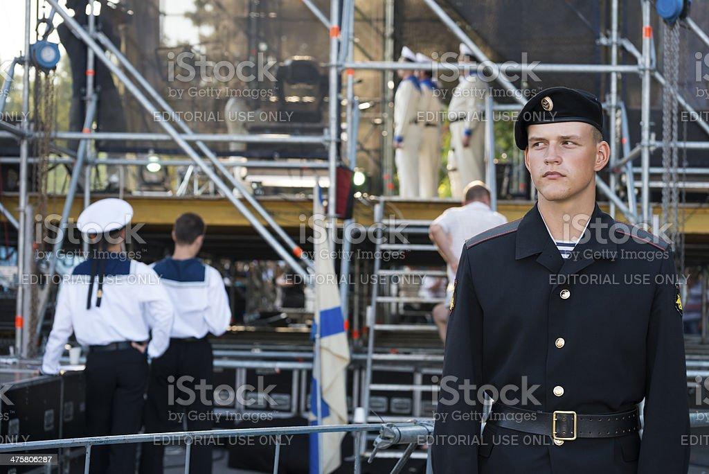 Navy personnel in the Black Sea port of Sevastopol stock photo
