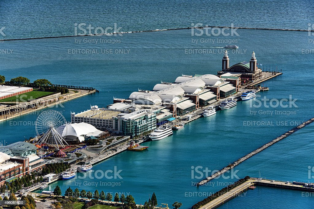 Navy Pier and Lake Michigan, Chicago, aerial view stock photo
