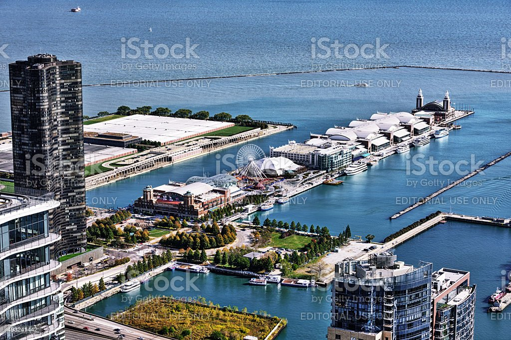 Navy Pier and Lake Michigan, Chicago,  from above stock photo
