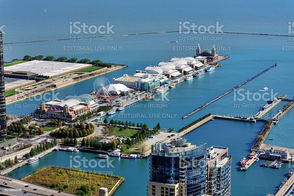 Navy Pier at mouth of the Chicago River stock photo