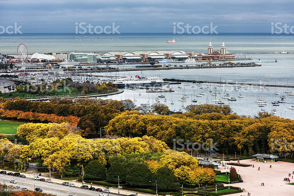 Navy Pier, Columbia Yacht Club and Grant Park, Chicago stock photo