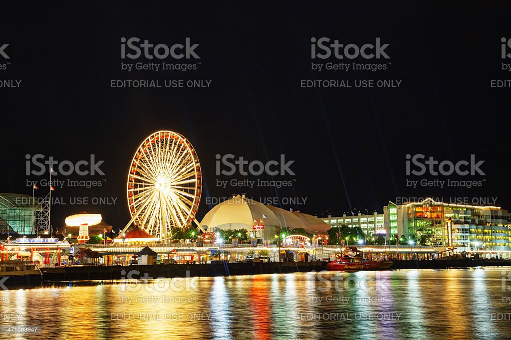 Navy Pier in Chicago at night time royalty-free stock photo