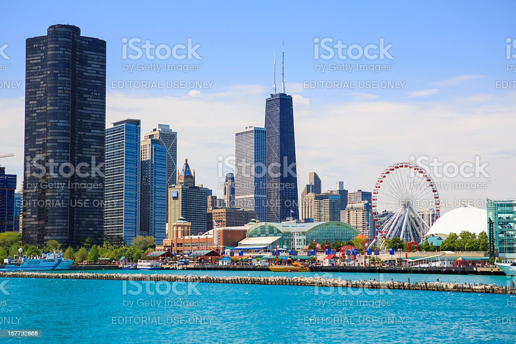 Navy Pier Park and Chicago cityscape stock photo