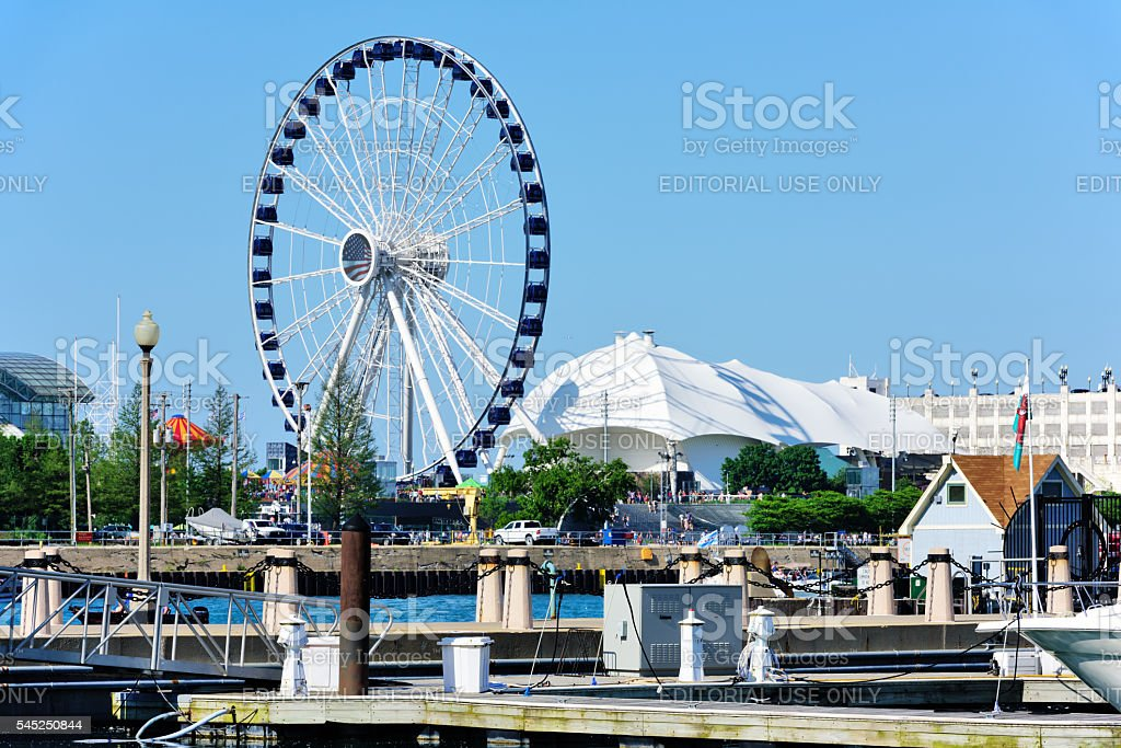 Navy Pier with Ferris Wheel, Chicago stock photo