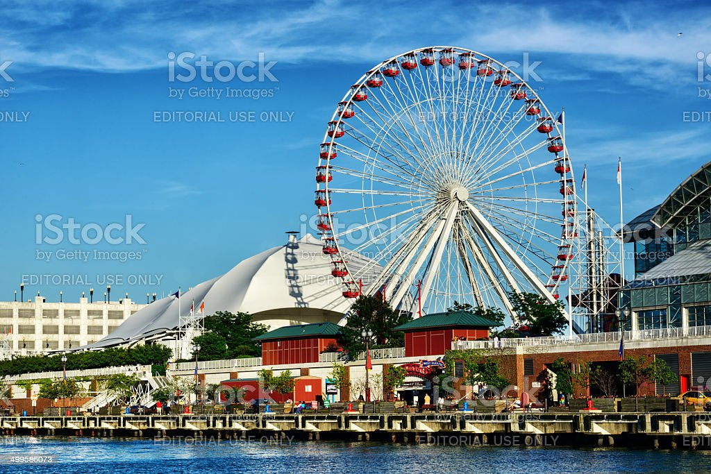 Navy Pier with Ferris Wheel,  downtown Chicago stock photo