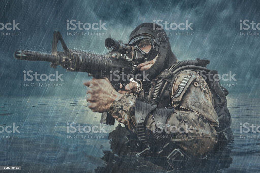 Navy SEAL frogman stock photo