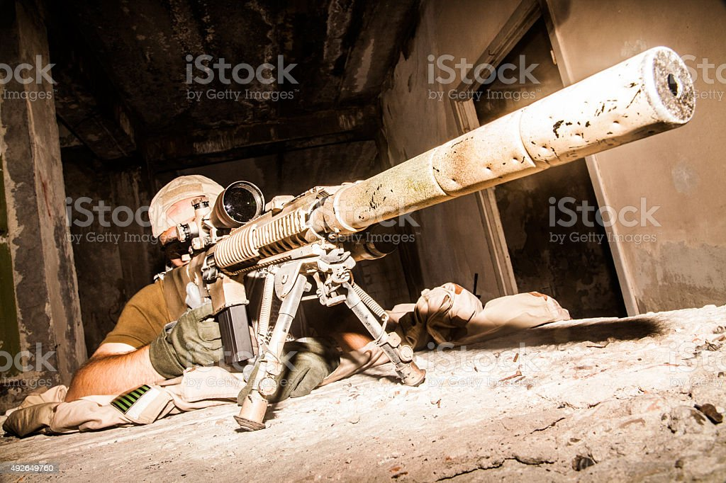 Navy Seal Sniper stock photo
