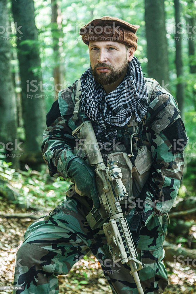 Navy SEAL Taliban hunter stock photo