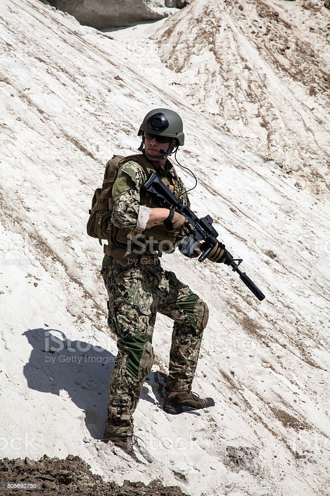 Navy SEAL team stock photo