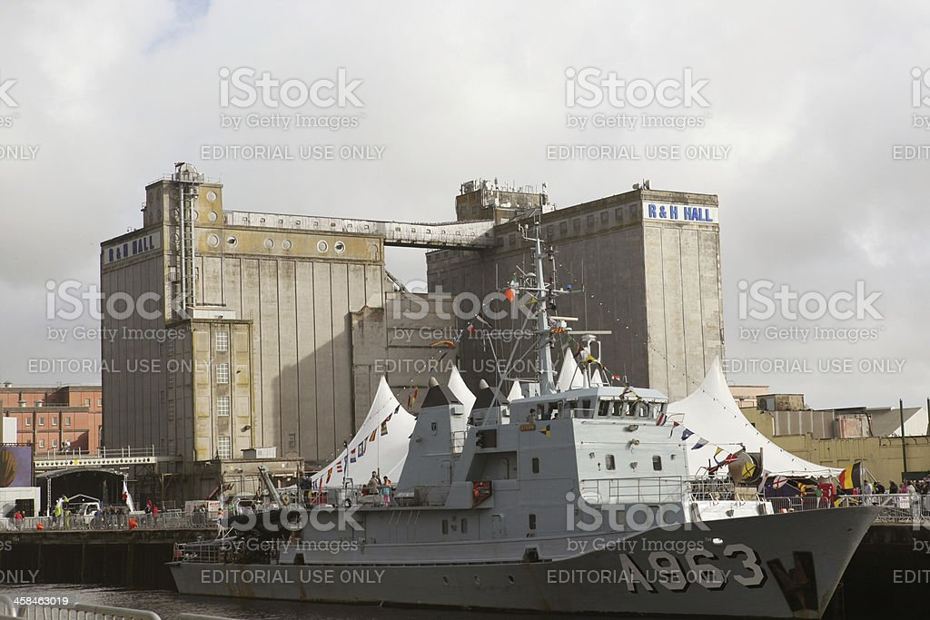 Navy Ship in Cork Port stock photo