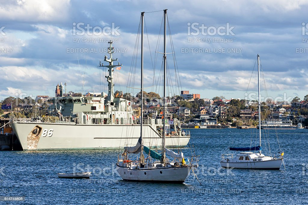 Navy ship in Sydney stock photo