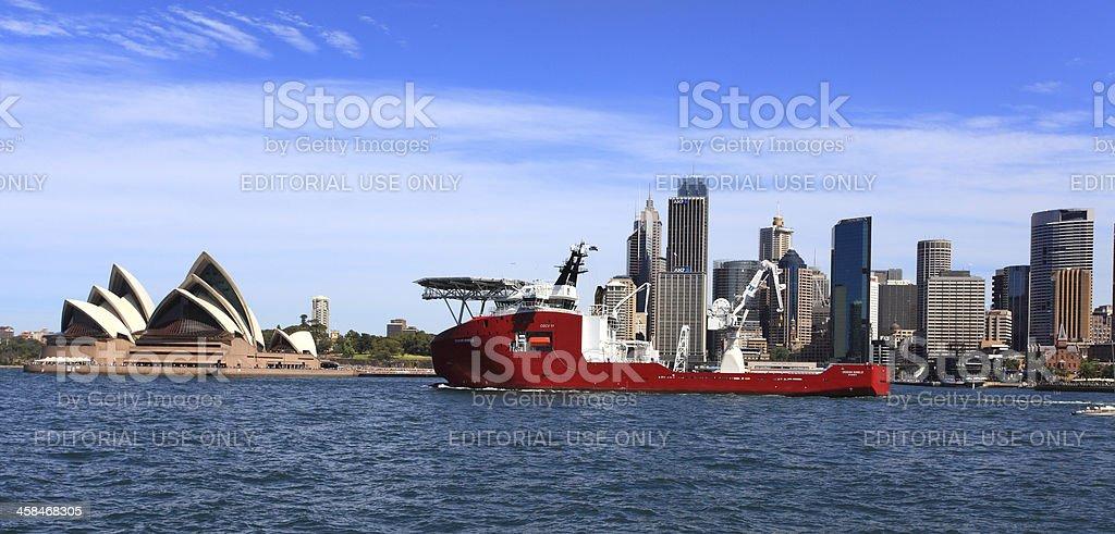 Navy Ship Ocean Shield and Sydney Opera House royalty-free stock photo