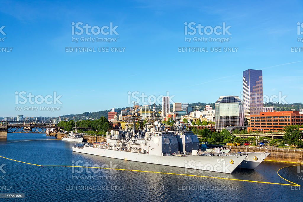 Navy Ships and Downtown Portland stock photo