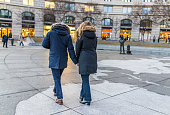 Navy yard memorial with couple walking on Pennsylvania avenue