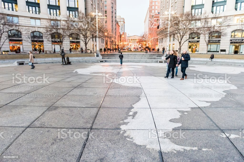 Navy yard memorial with people walking on Pennsylvania avenue stock photo