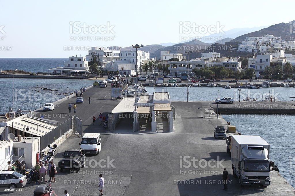 Naxos harbor, Greece stock photo