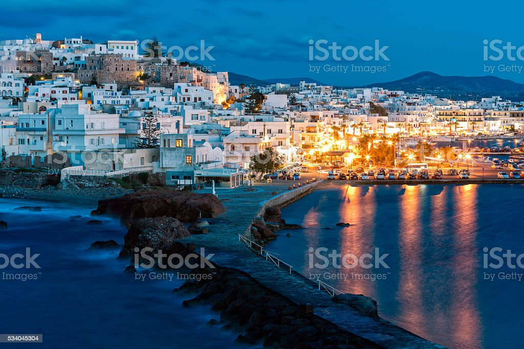 Naxos Illuminated at Dusk, Cyclades, Greece stock photo