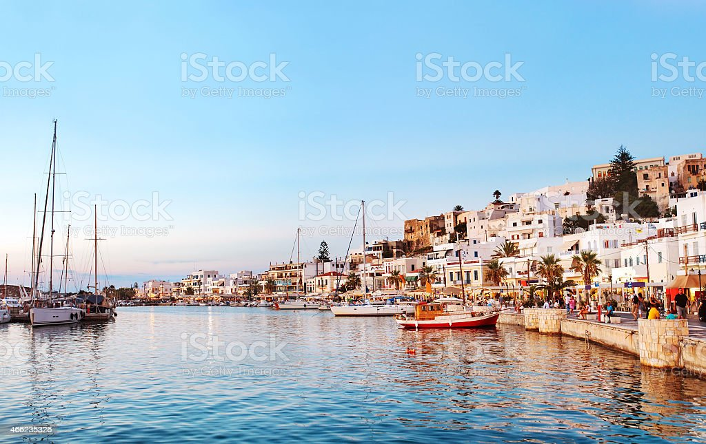 Naxos old town sunset, Greece. stock photo