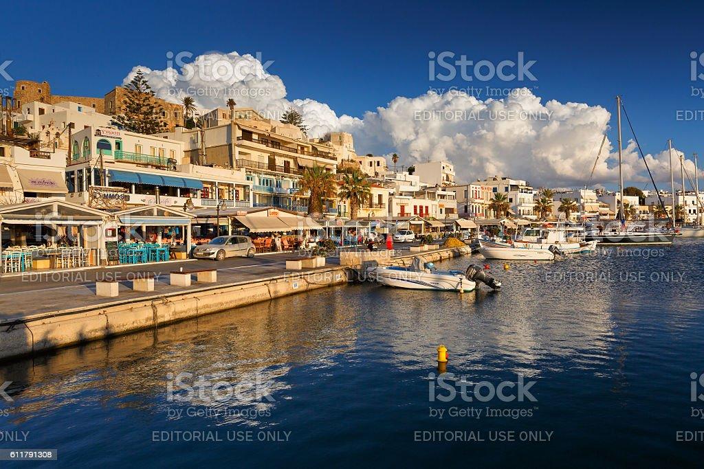 Naxos town. stock photo