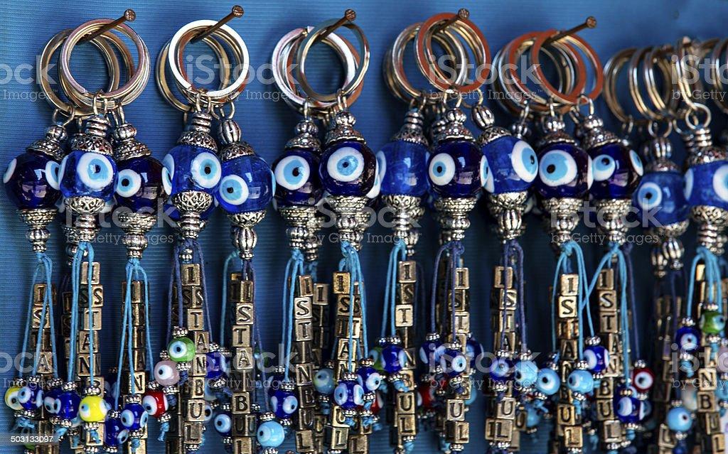 Nazar Boncuk key ring stock photo