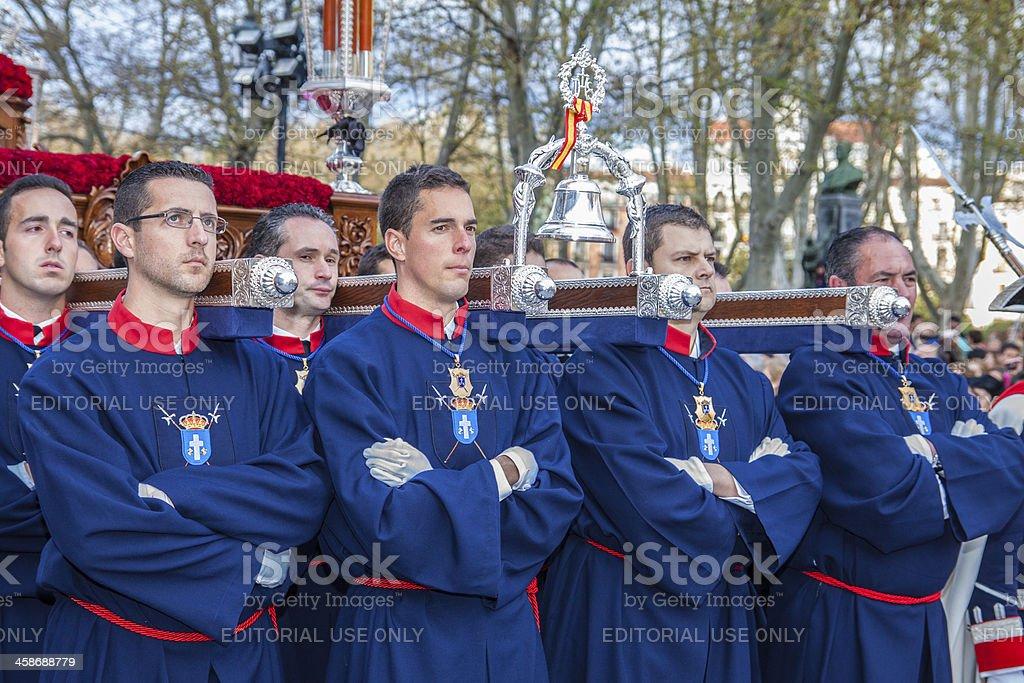 Nazarene procession during Holy Week of Madrid stock photo